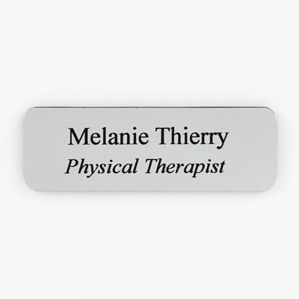Large Silver/Black Plastic Name Tag w/ Magnet Back - Things Engraved