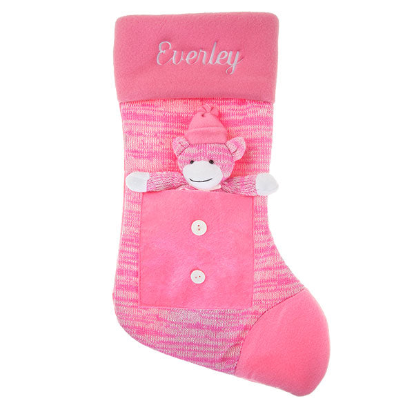 Pink Sock Monkey Stocking