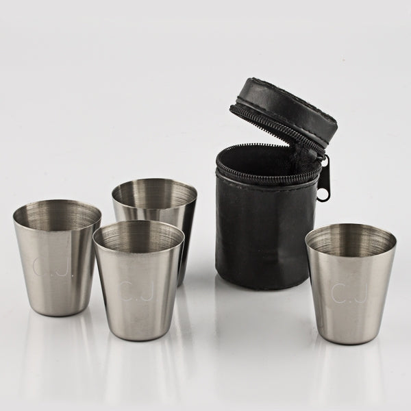 Set of 4 Stainless Steel Shot Glasses in Pouch - Things Engraved