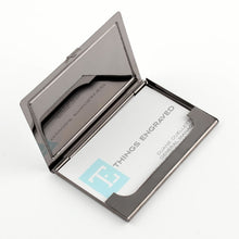 Card Case Gunmetal and Silver - Things Engraved
