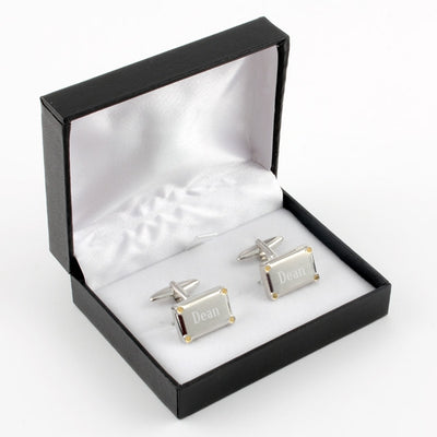 Cuff Links Brushed Silver with Gold Corners - Things Engraved