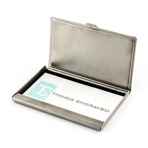 Matte Card Case with Blk Insert Plate - Things Engraved