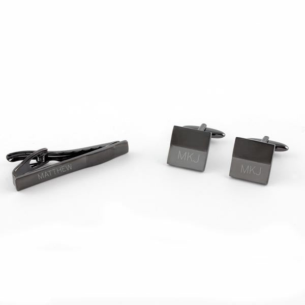 Matte Gun Metal Tie Bar/ Cuff Link Set