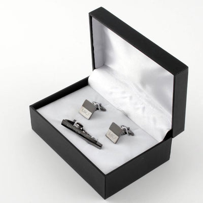 Matte Gun Metal Tie Bar/ Cuff Link Set - Things Engraved