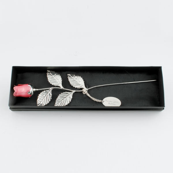 Silver Plated Pink Rose