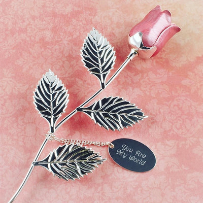 Silver Plated Pink Rose - Things Engraved