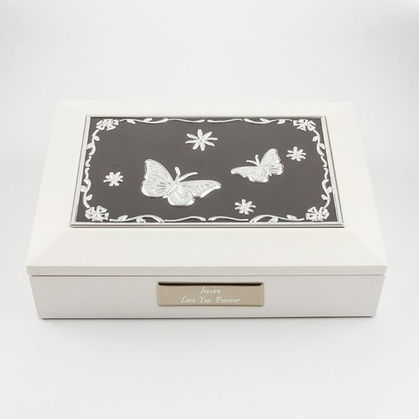 White Jewel Box with Butterfly Lid