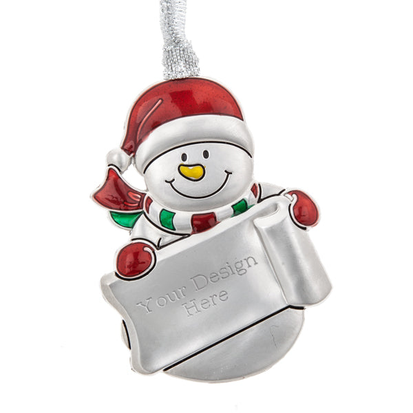 Snowman Holding Sled Ornament