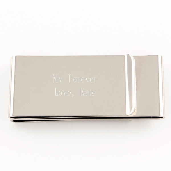 Shiny Silver Double Money Clip - Things Engraved