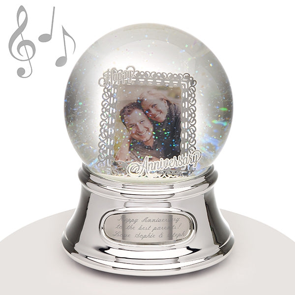 Musical Water Globe - Anniversary Photo - Things Engraved