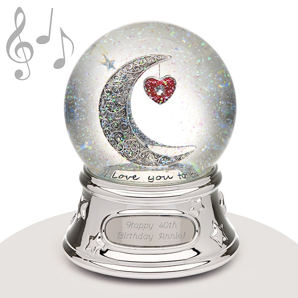 Musical Water Globe - Love You To The Moon - Things Engraved