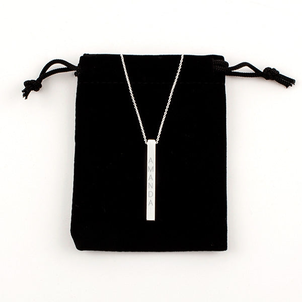 Silver Vertical Bar Pendant  on Chain