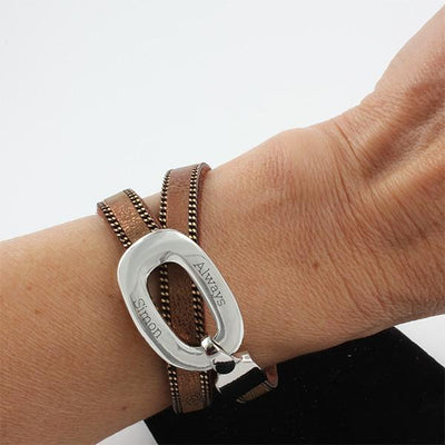 Brown Wrap Bracelet with Silver Buckle - Things Engraved
