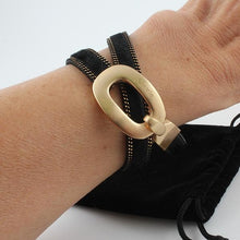 Blk Wrap Bracelet with Gold Buckle