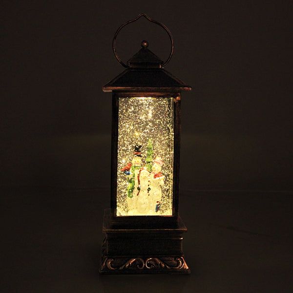 LED Tall Lantern Snowglobe with Snowman Family