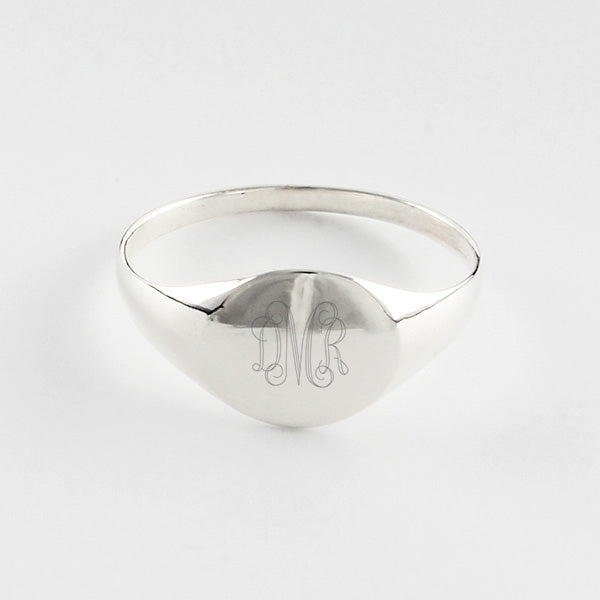 Plain Flat Round Sterling Signet Ring - Things Engraved