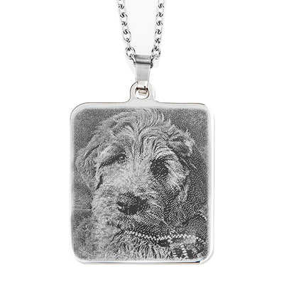 Photo Engraving SS Large Rectangular Pendant on Chain