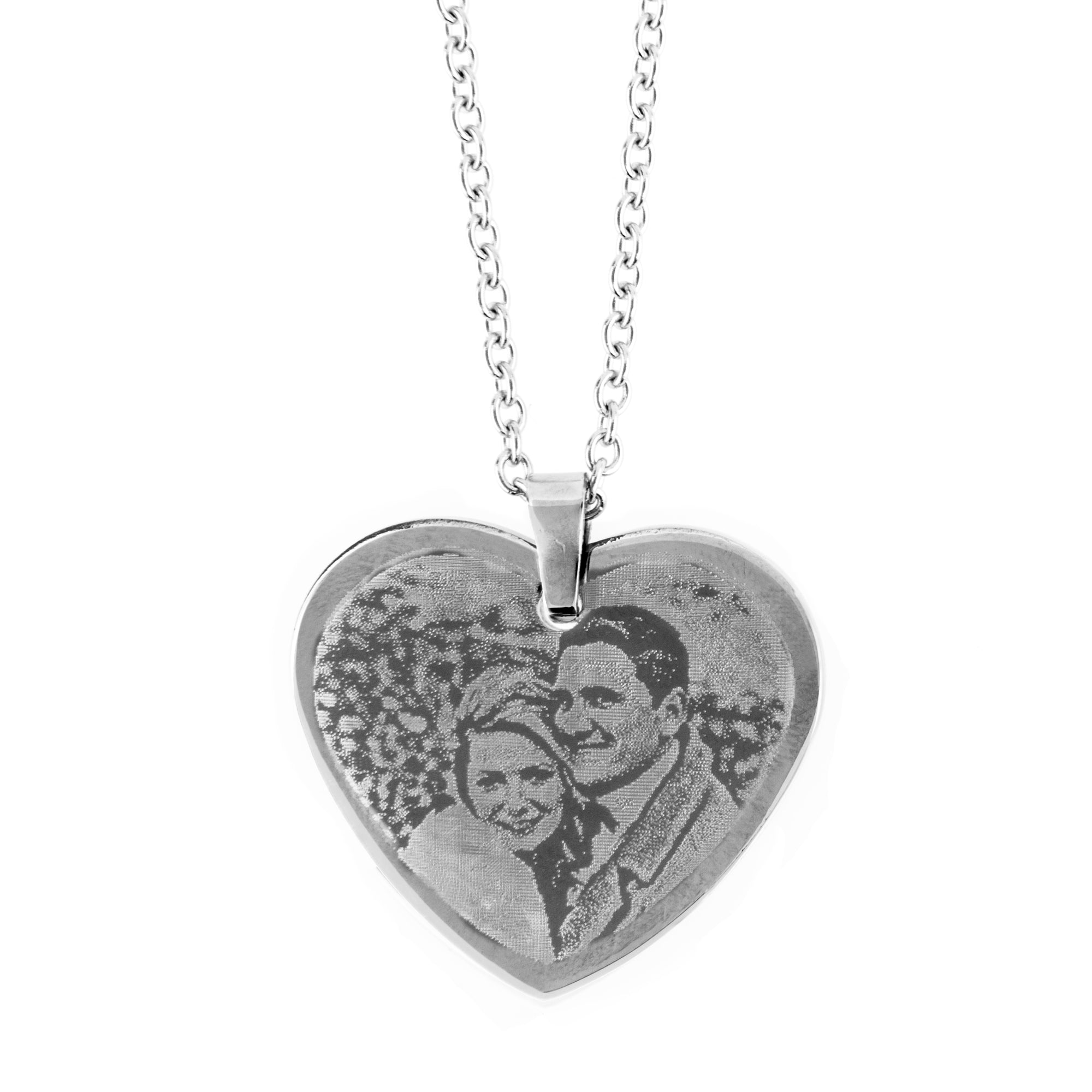 Photo Engraving SS Heart Pendant on Chain