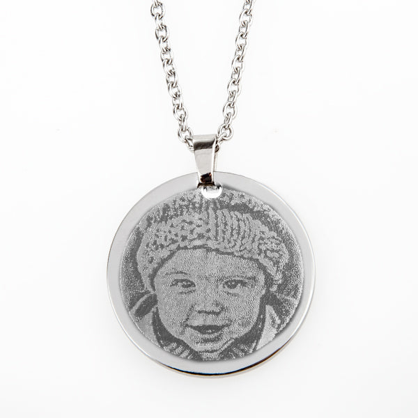 Photo Engraving SS Round Pendant on Chain