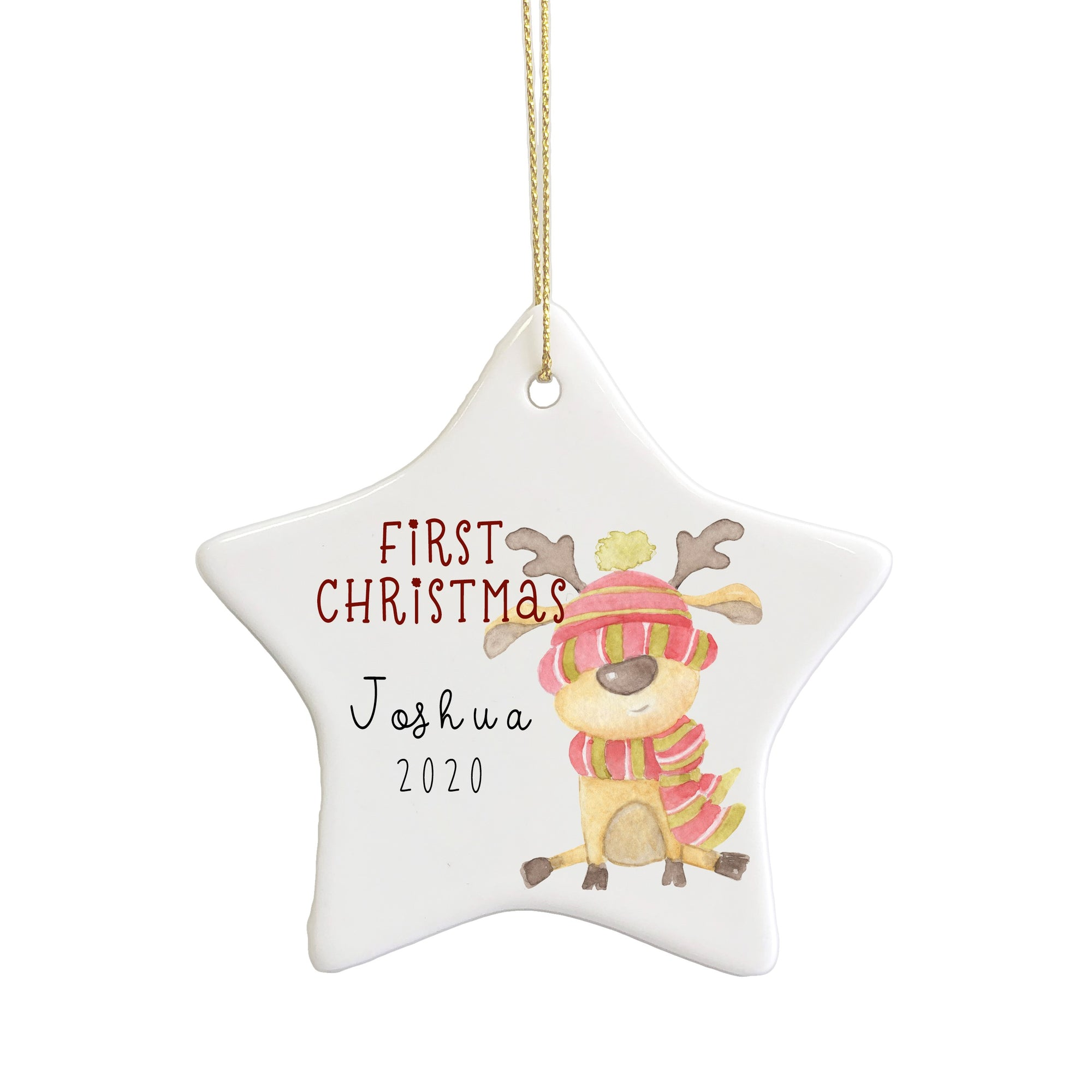 First Christmas ceramic star ornament
