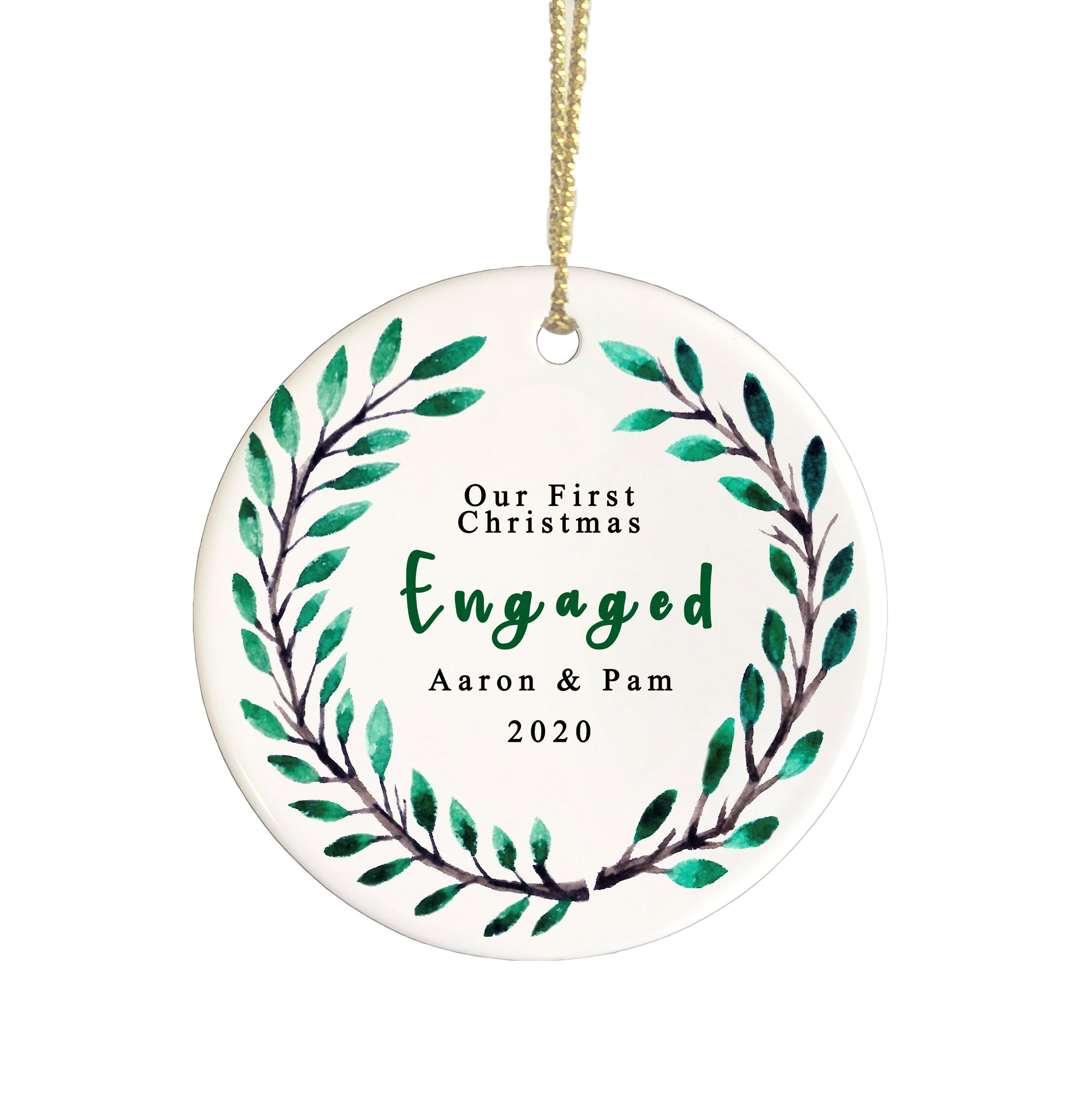 Our 1st Christmas Engaged ceramic ornament
