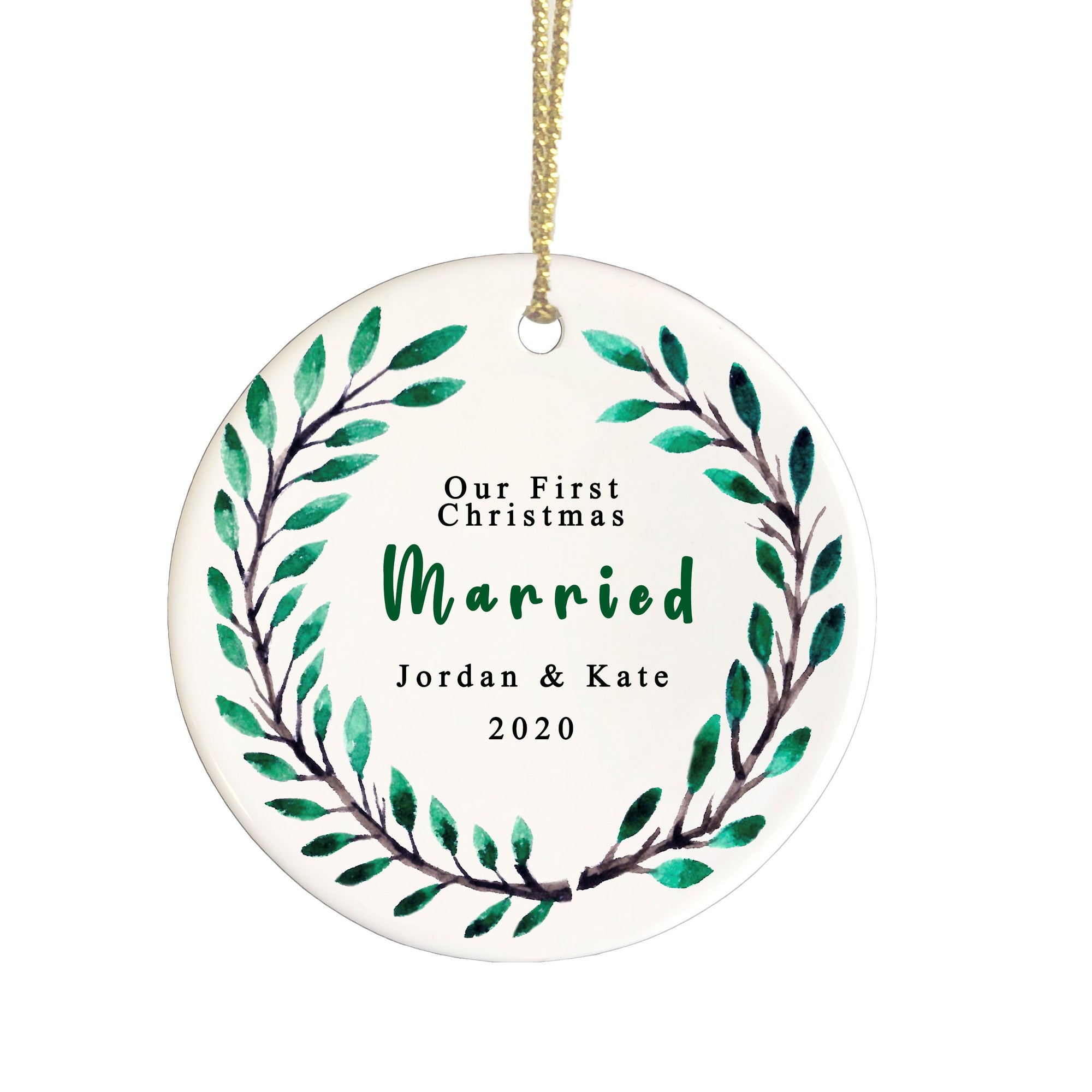Our 1st christmas Married ceramic ornament