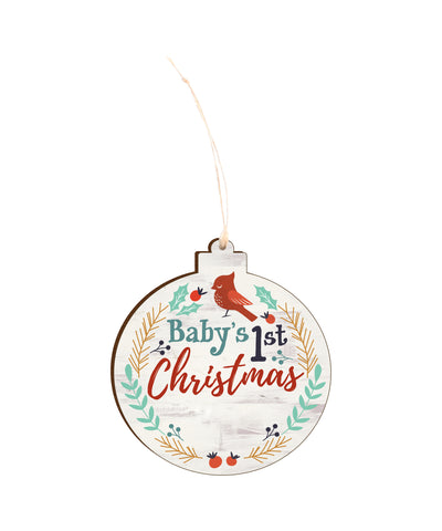 Baby's First Christmas wood ornament