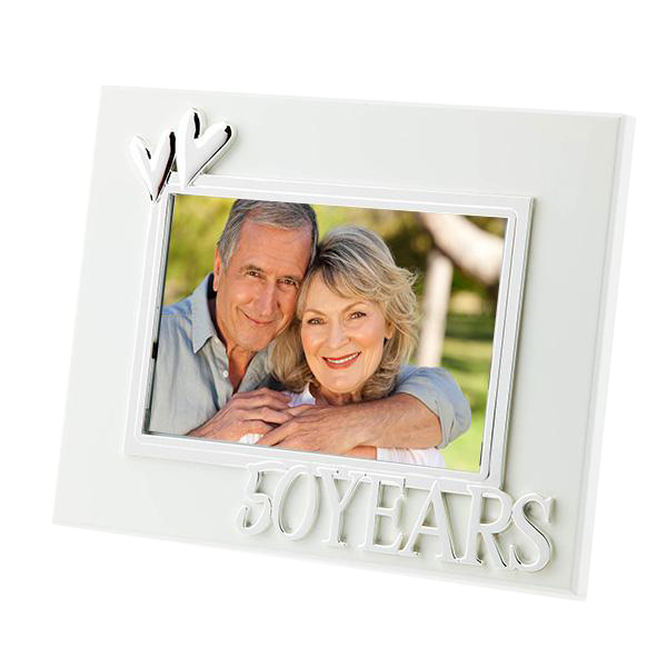 50 Years White Anniversary Frame