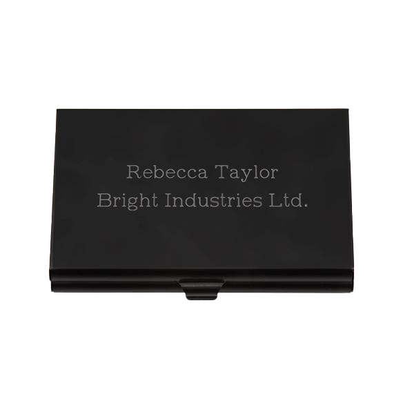 Black Aluminum Card Case with Mirror