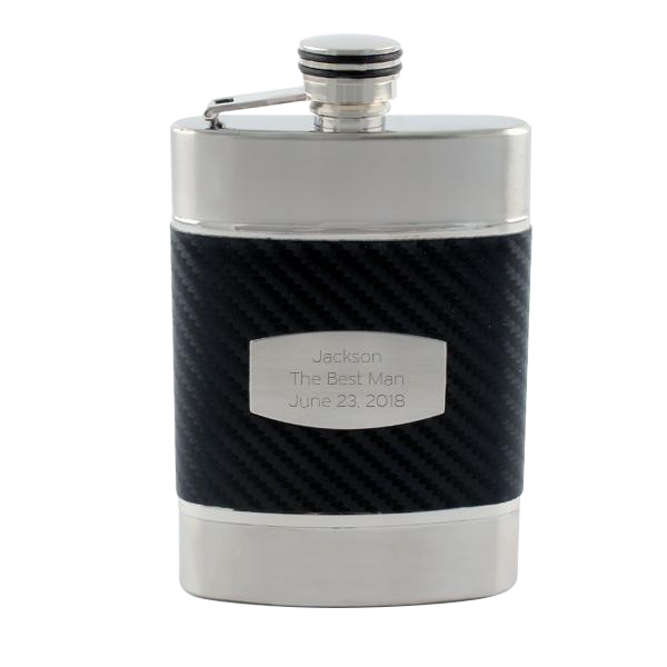 Black Carbon Fibre Wrapped Flask