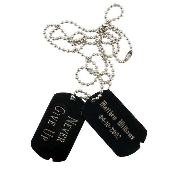 Black Dog Tag Set with Chain