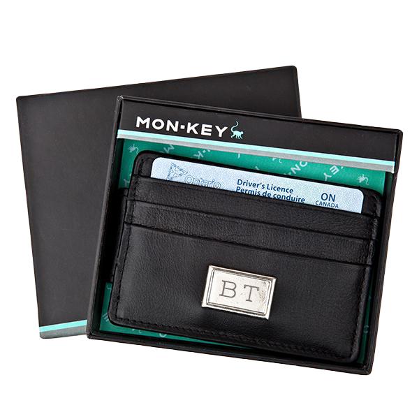 Black Leather Credit Card Holder w/ Magnetic Clip