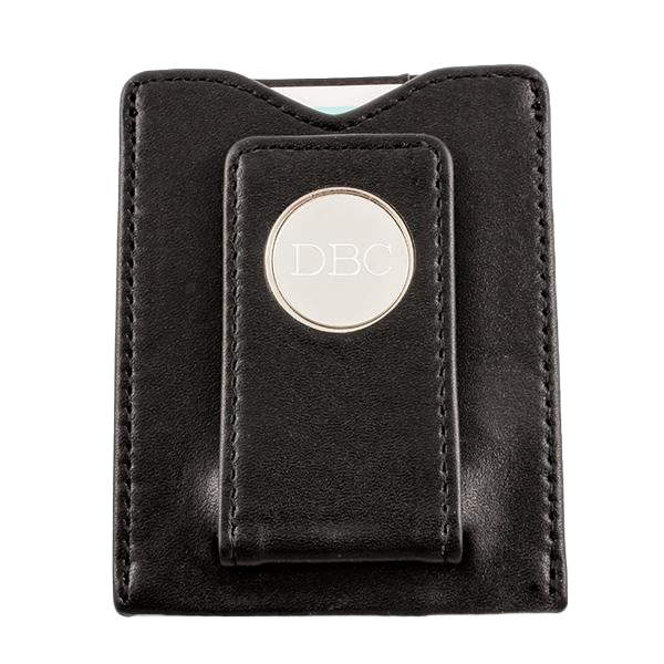 Black Leather Money clip with Card Holder