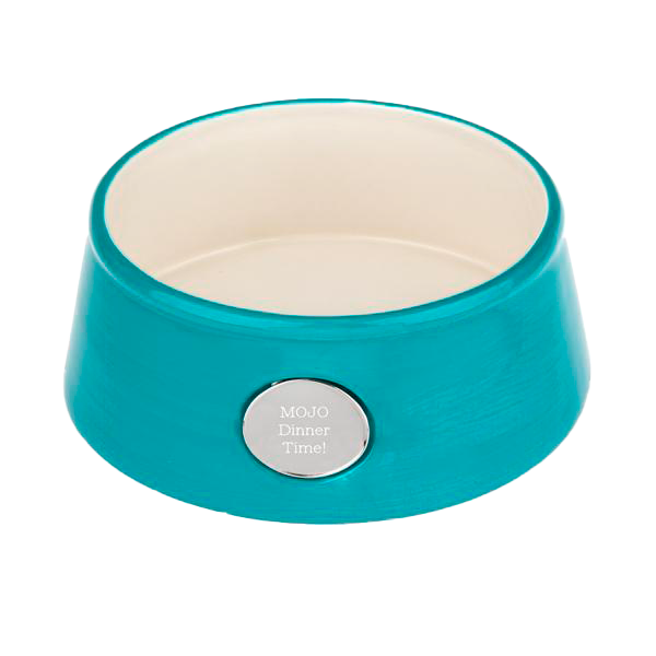 Blue Ceramic Pet Bowl with Engravable Plate