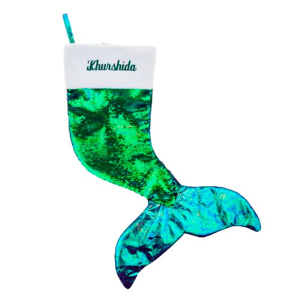 Blue Reversible Mermaid Stocking