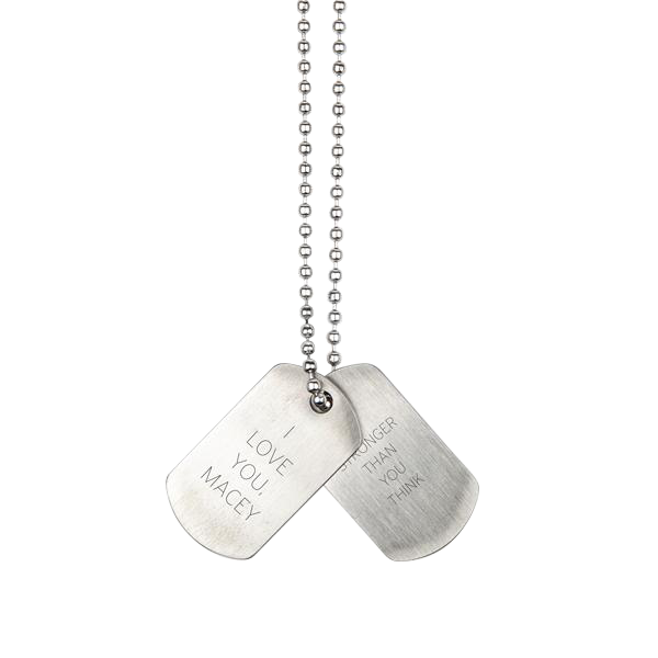 Boys Stainless Steel Dog Tags with Chain