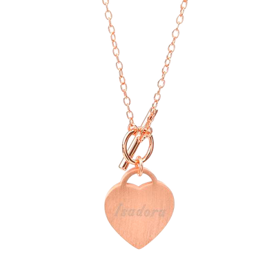 Brushed Rose Gold Heart Necklace