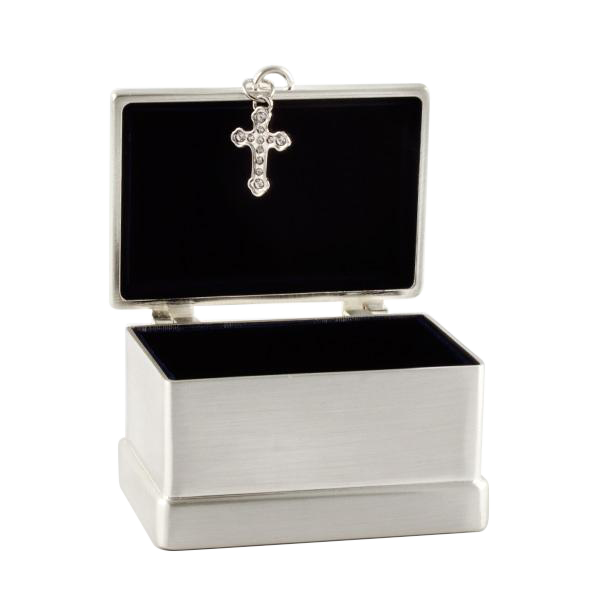 Brushed Silver Cross Trinket Box