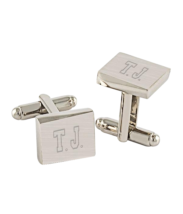 Brushed Silver Cuff Links