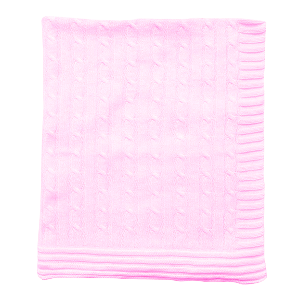 Cable Knit Baby Blanket - Pink