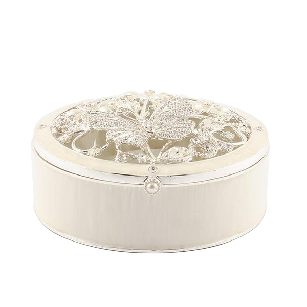 Crystal and Pearl Butterfly Round Box