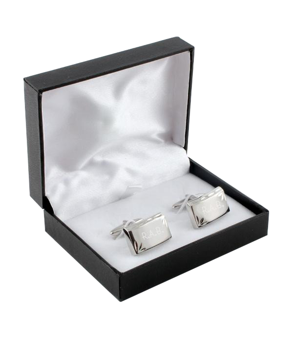 Cuff Link Set Rhodium Fancy