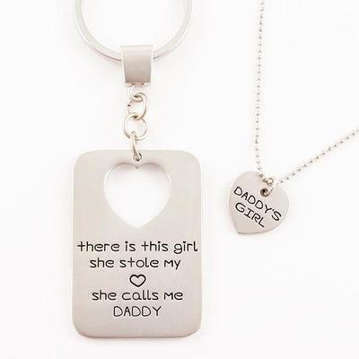 Daddy's Girl Keychain and Necklace Set