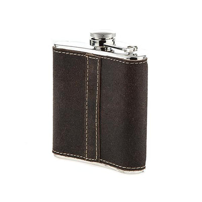 Distressed Brown Leather Wrapped Flask