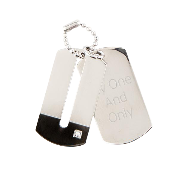 Double Dog Tag Pendant with Crystal