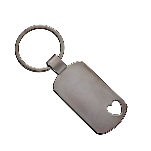 Engravable Dog Tag Keychain - Gun Metal