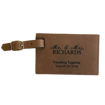 Faux Leather Luggage Tag - Bay Brown