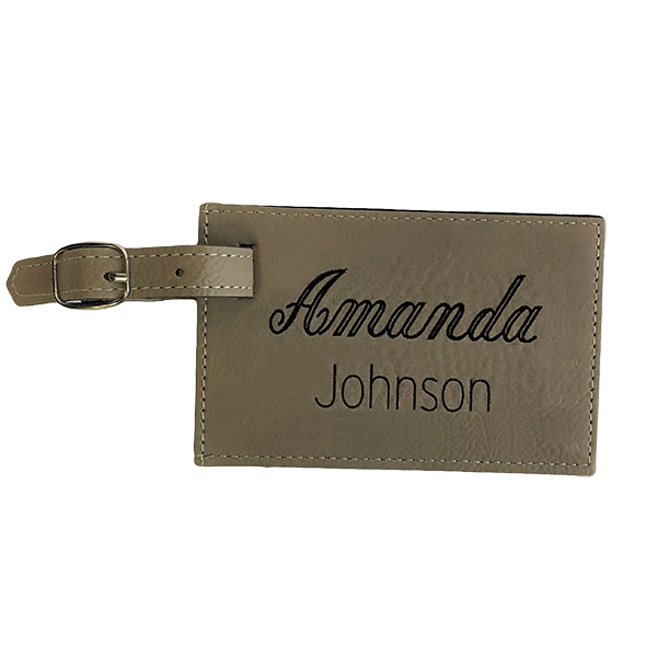 Faux Leather Luggage tag - Buckskin