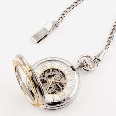 Gold/Chrome Skeleton Pocket Watch