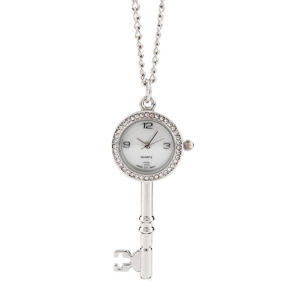 Key Shaped Clock Pendant on Chain